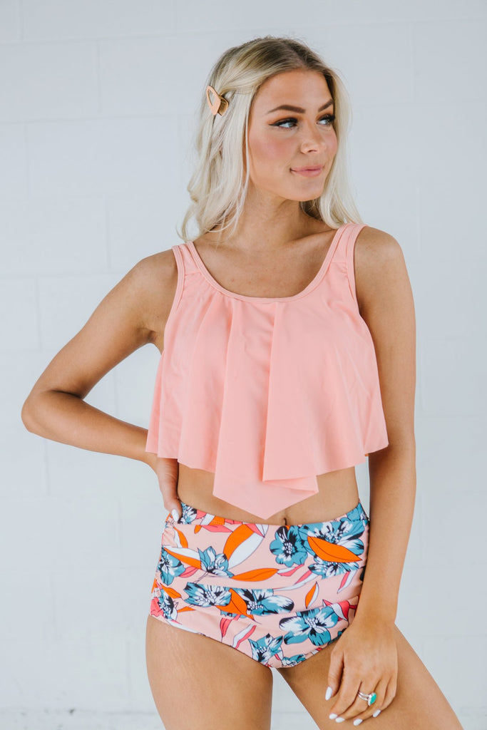 High Waist Floral Two Piece - Fancy Frills Boutique