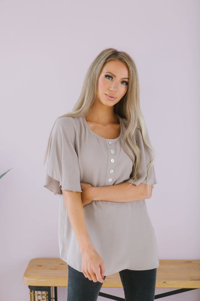 Button Flutter Sleeve Top
