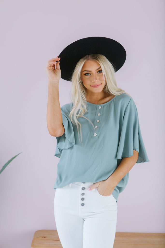 Button Flutter Sleeve Top - Fancy Frills Boutique