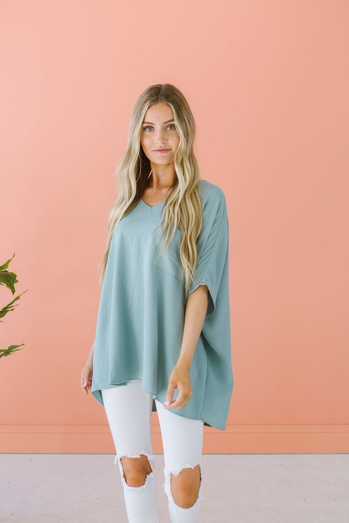 Pocket V Neck Top - Fancy Frills Boutique