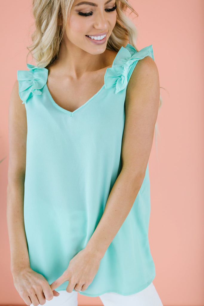 Ruffled V Neck Tank - Fancy Frills Boutique