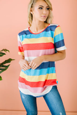 Multi Color Striped Button Up