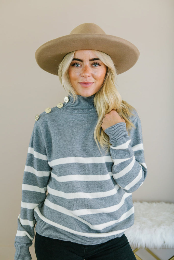 Striped Button Detail Sweater