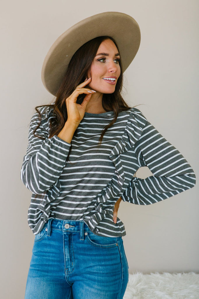 Striped Ruffle Top