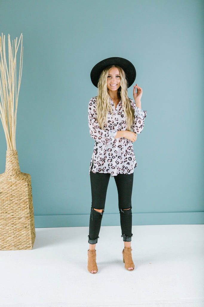 Animal Print Button Up Top