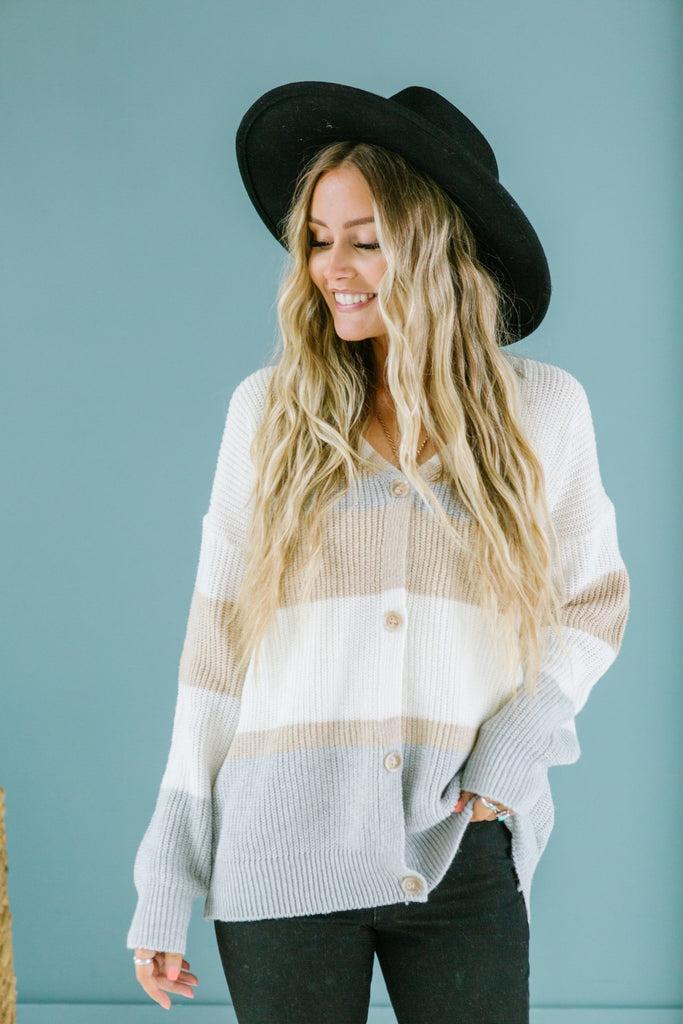 Striped Button Cardigan