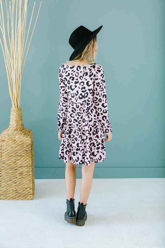 Animal Print Ruffle Dress