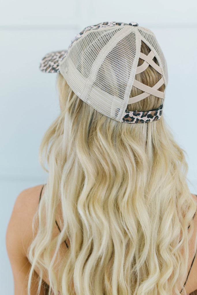 Animal Print Pony Tail Hat