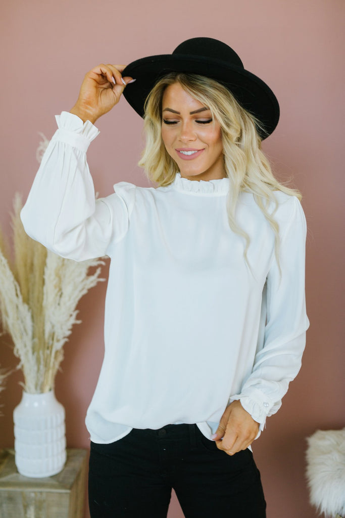 Mock Neck Fall Blouse