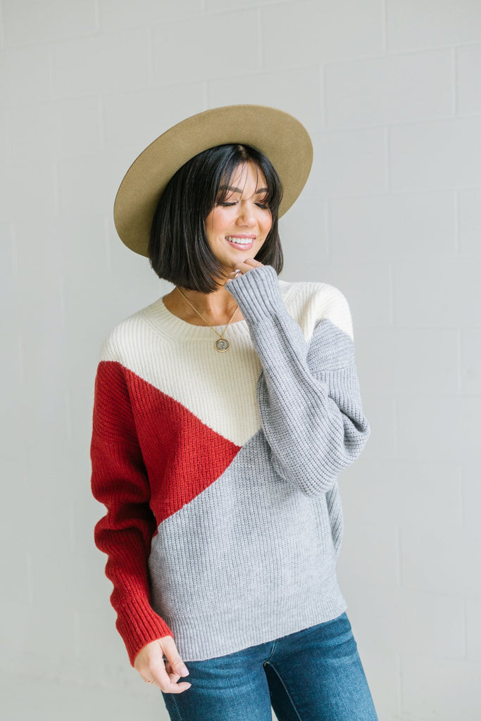 Color Mix Knit Sweater