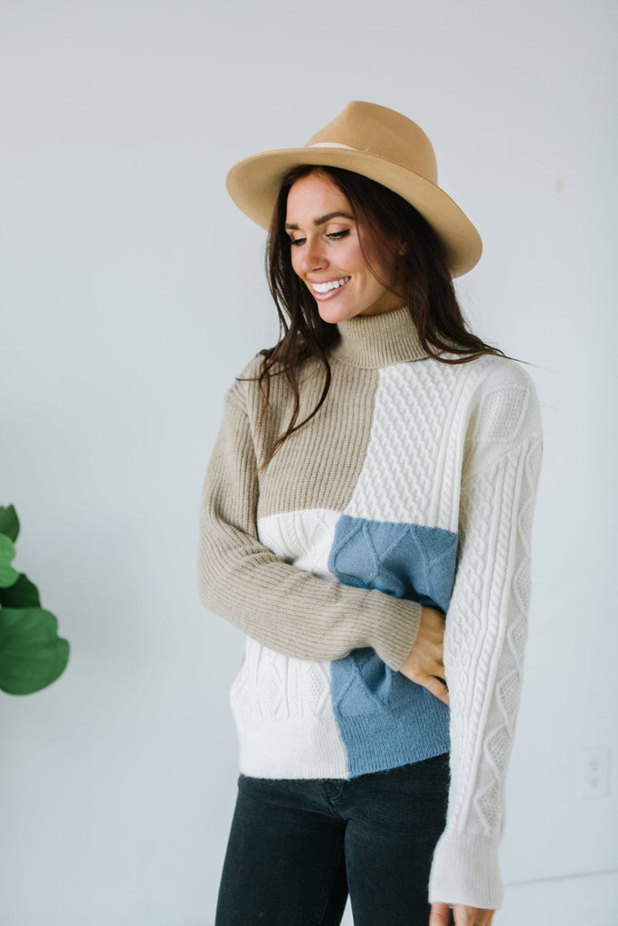 Cable Knit Colorblock Sweater
