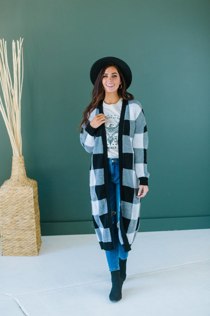 Buffalo Plaid Sweater Cardigan