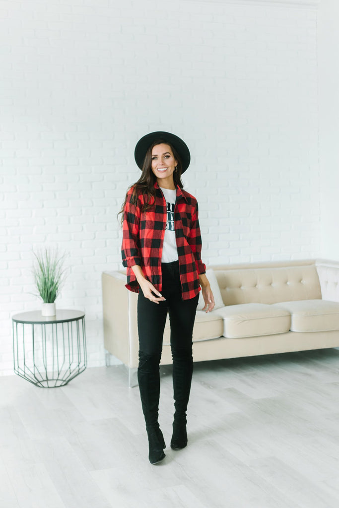 Plaid Zip Up Top