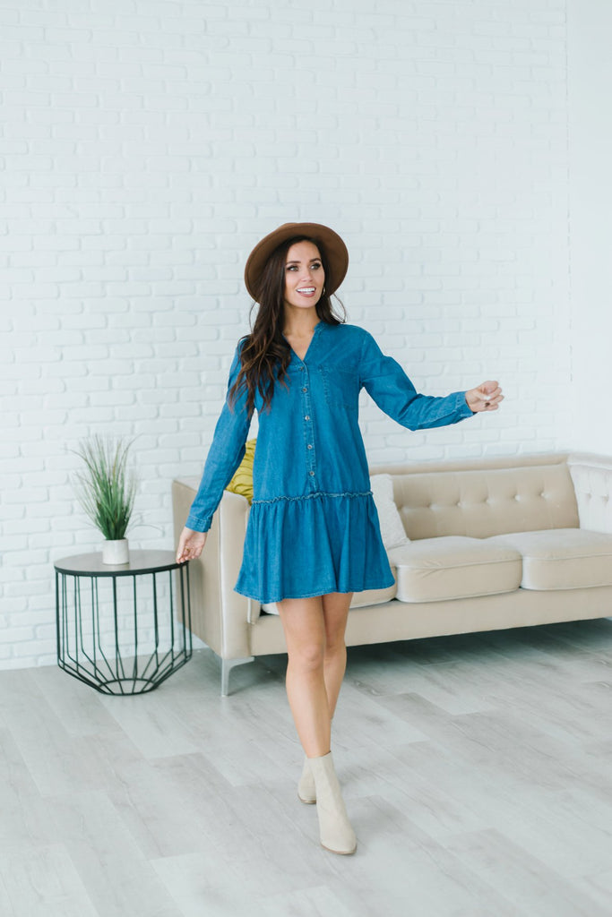 Chambray Ruffle Hem Dress