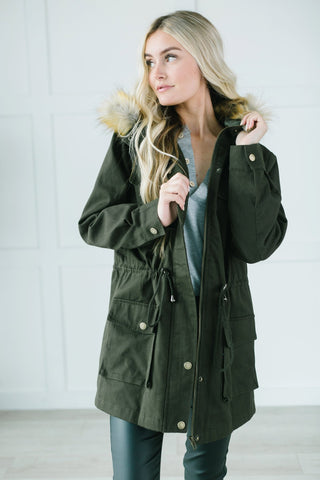 Fur Lined Hooded Coat