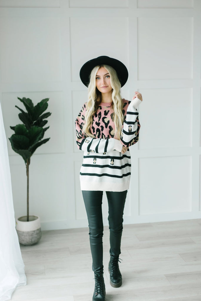 Animal Print Striped Sweater