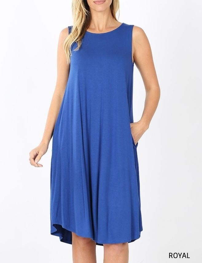 Lux Sleeveless Pocket Midi