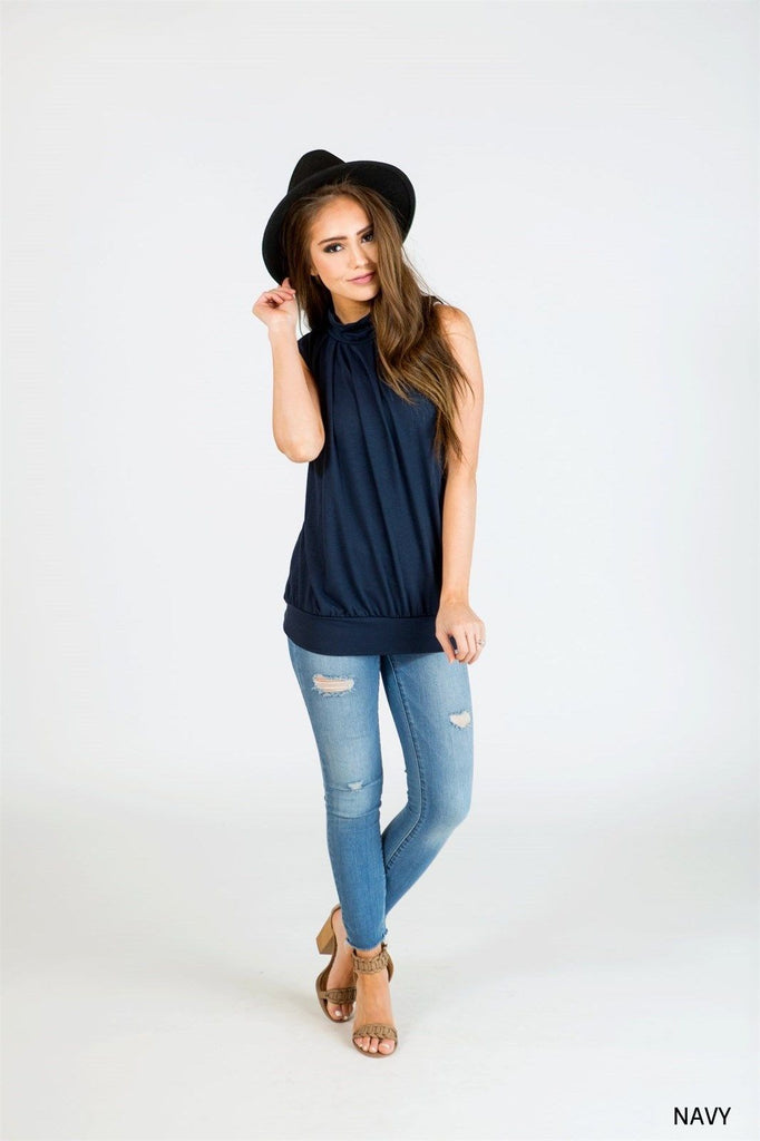 Mock Neck Pleated Tank