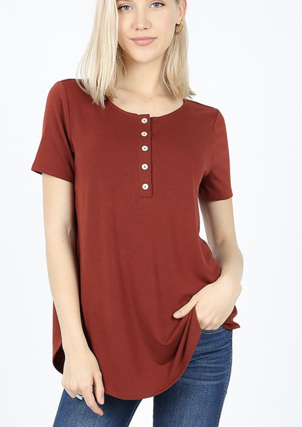 Relaxed Short Sleeve Button Tunic - Fancy Frills Boutique
