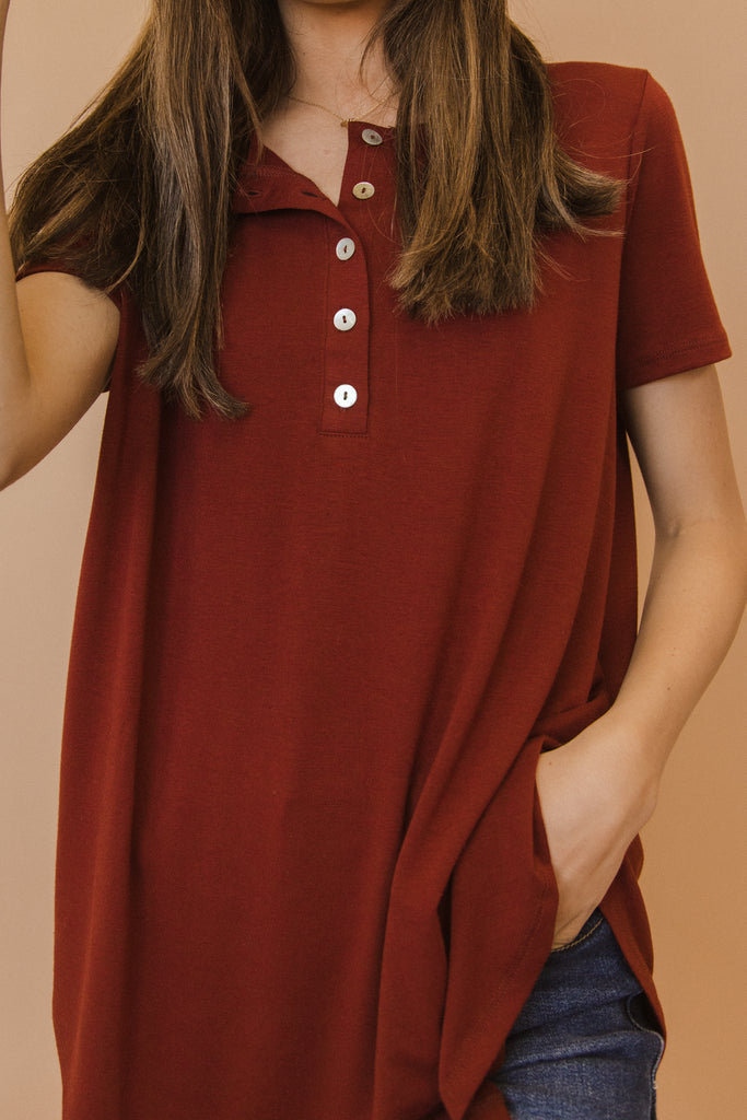 PLUS Relaxed Short Sleeve Button Tunic
