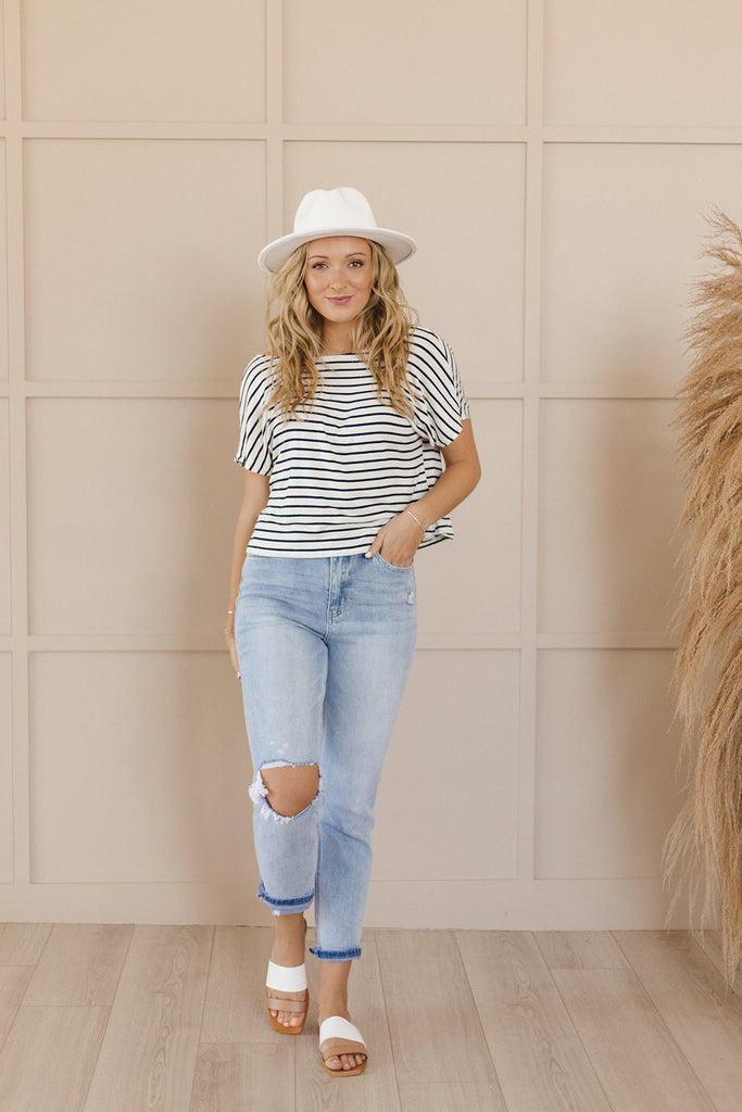Striped Knotted Back Top
