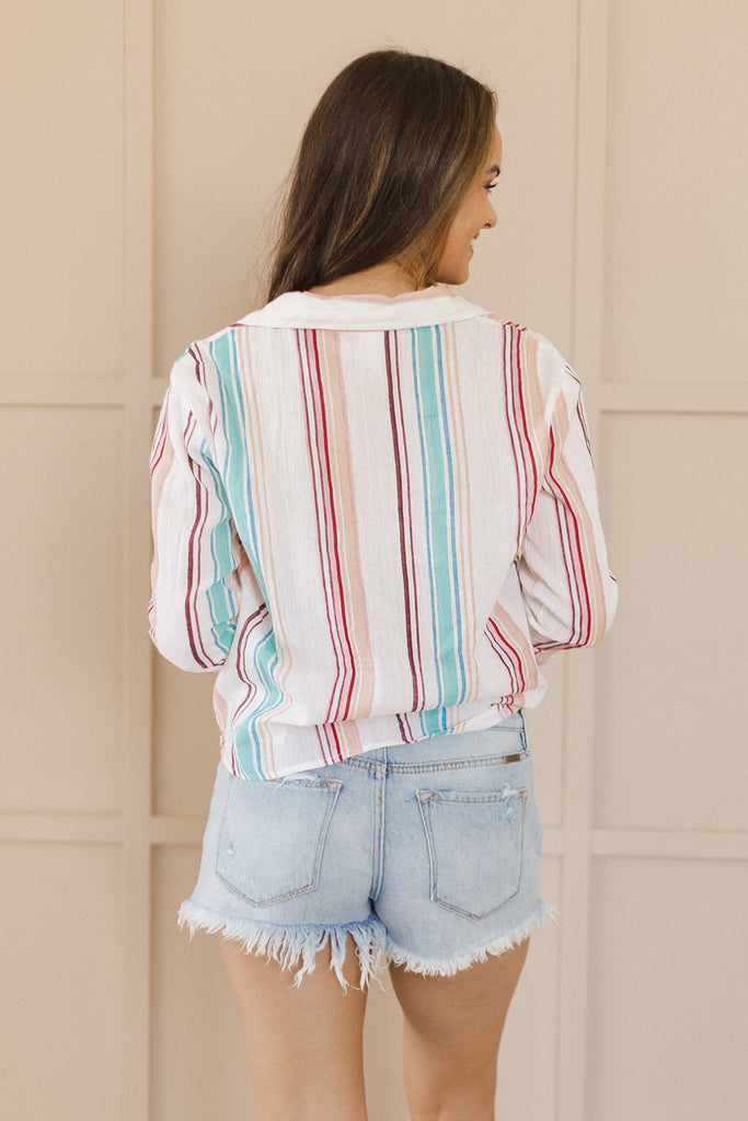 Multi Stripe Spring Button Up