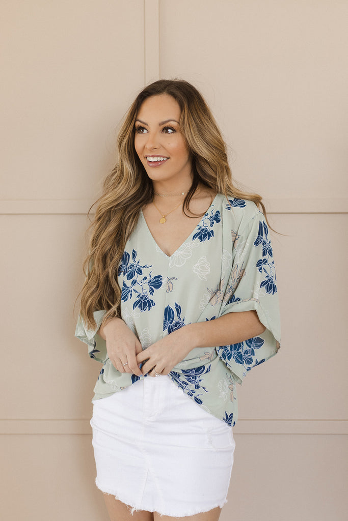 S-3X, 3 Colors | Floral Knotted Blouse