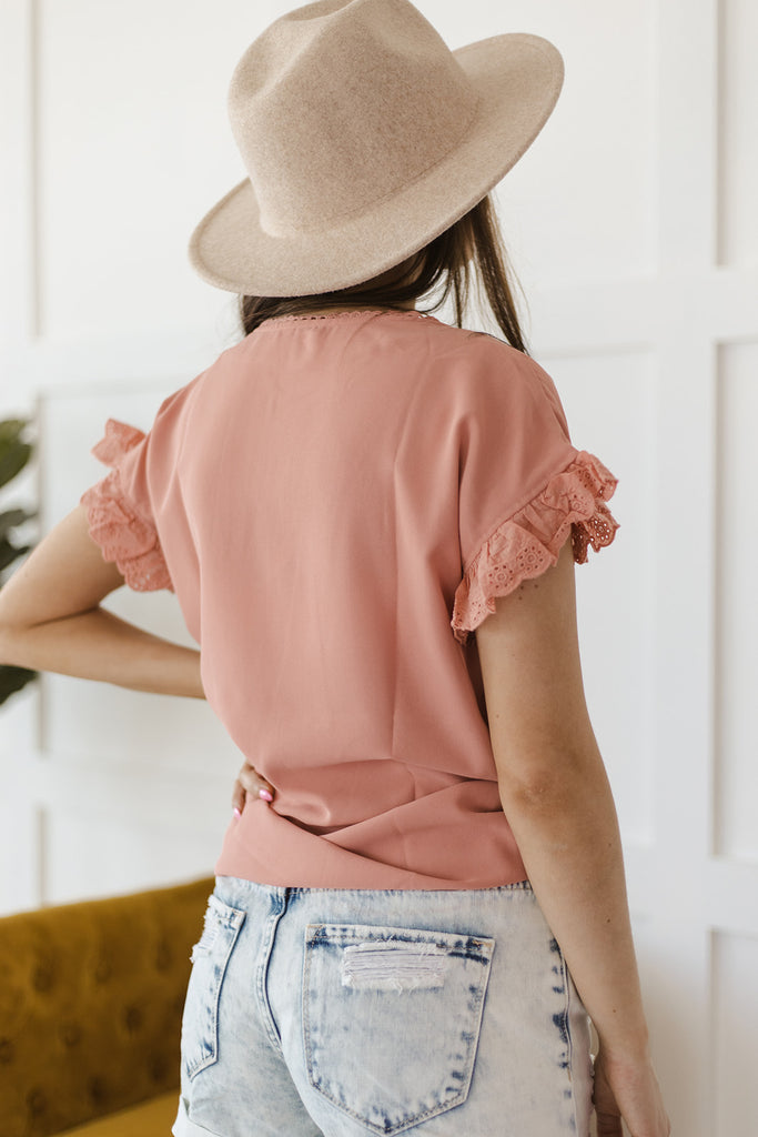 Eyelet Ruffled Top