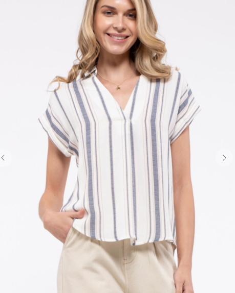 Striped Cuff Sleeve Shirt