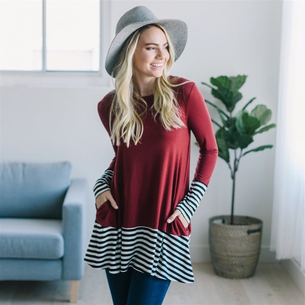 Striped Trim Fall Tunic - Fancy Frills Boutique