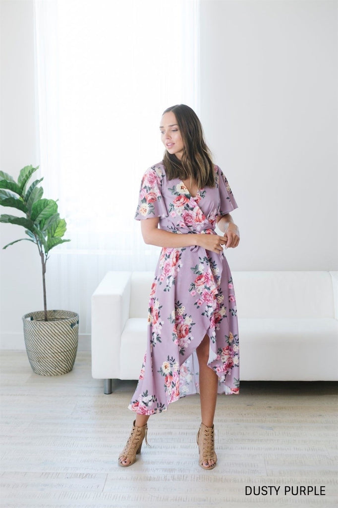 Floral Wrap Dress - Fancy Frills Boutique