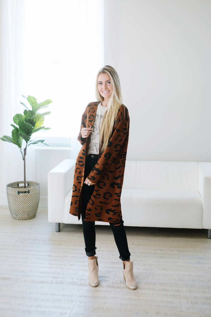 Long Animal Print Cardigan - Fancy Frills Boutique