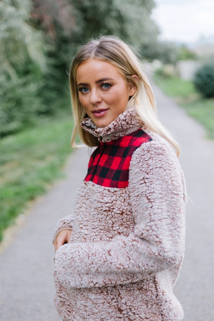 Plaid Trim Sherpa Pullover - Fancy Frills Boutique