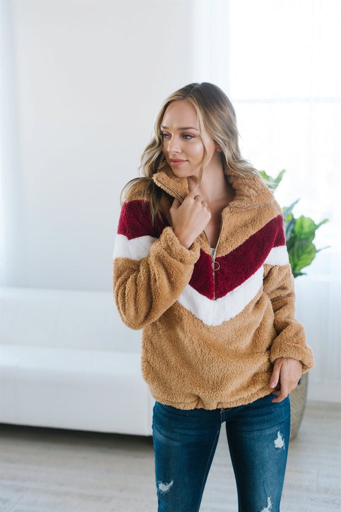Chevron Sherpa Jacket - Fancy Frills Boutique