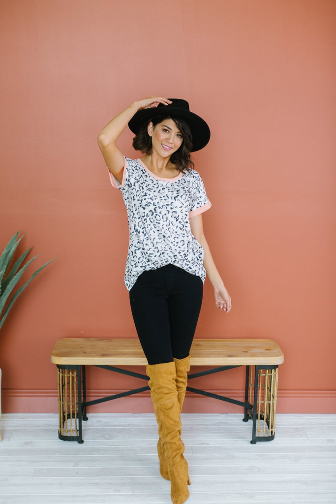 Colored Trim Leopard Tee