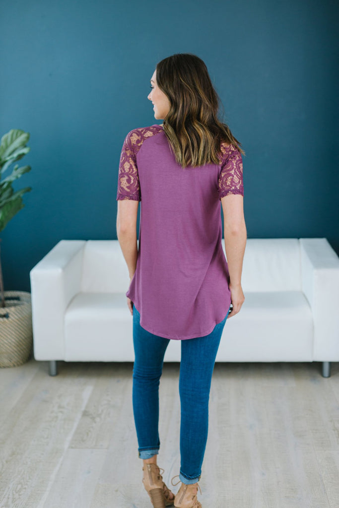 V Neck Lace Trim Tunic