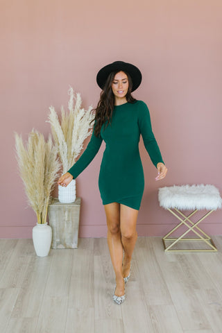 Puff Sleeve Sweater Midi Dress