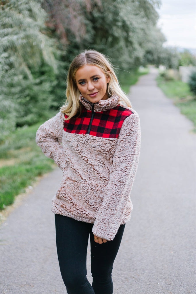 Plaid Trim Sherpa Pullover
