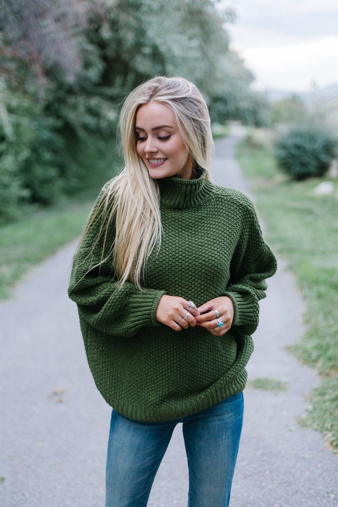 Mock Neck Knit Sweater - Fancy Frills Boutique
