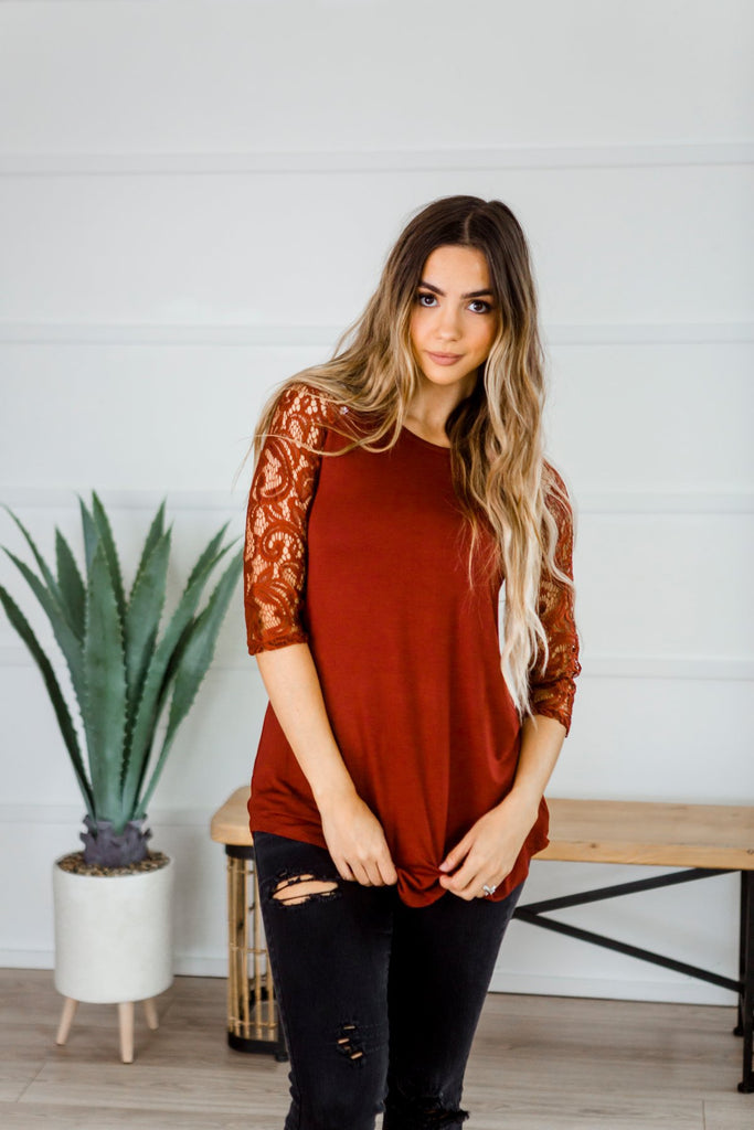 Lace Sleeve Tunic - Fancy Frills Boutique