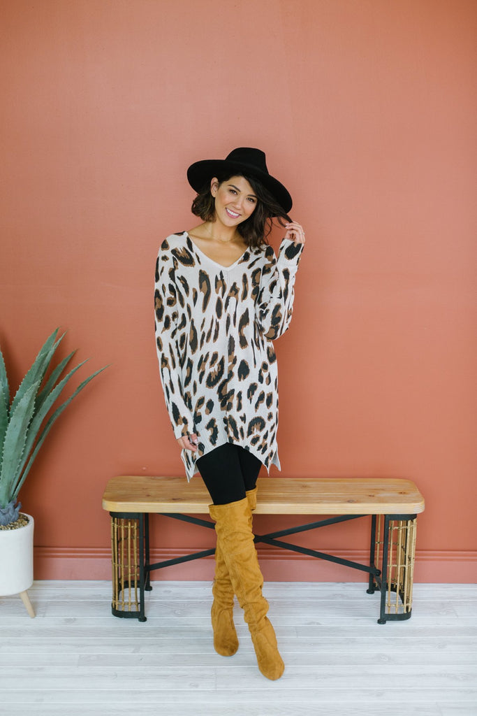 Animal Print Long Sweater Tunic