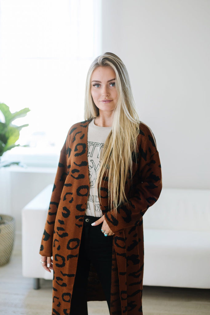 Long Animal Print Cardigan