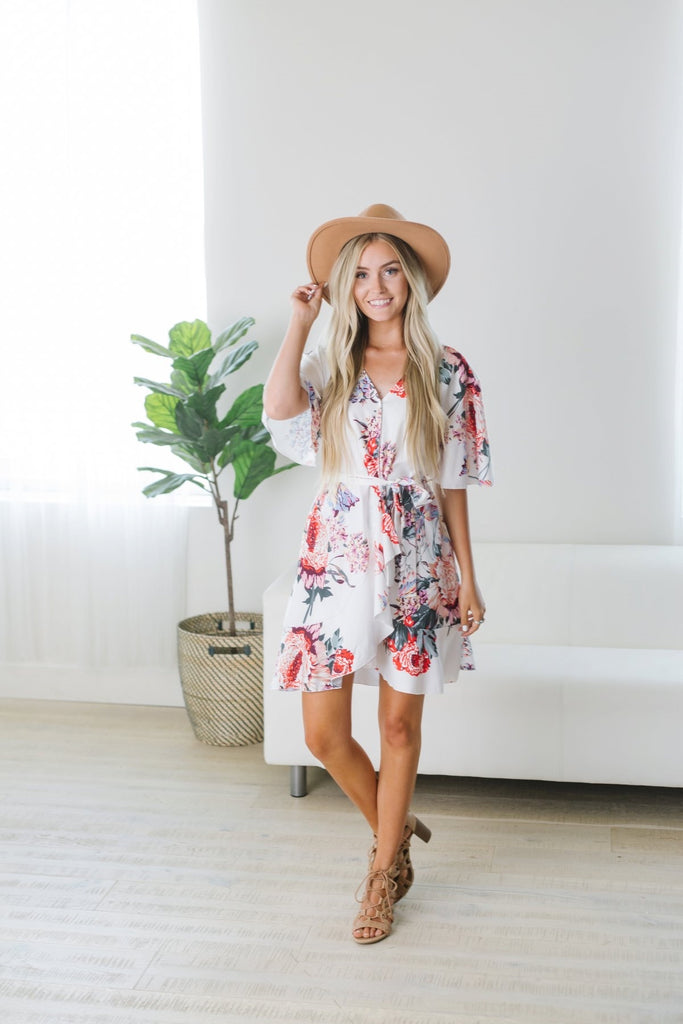 Floral Wrap Midi - Fancy Frills Boutique