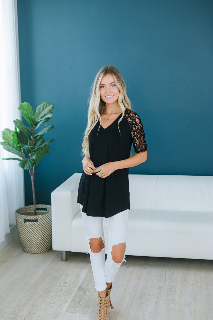 V Neck Lace Trim Tunic - Fancy Frills Boutique