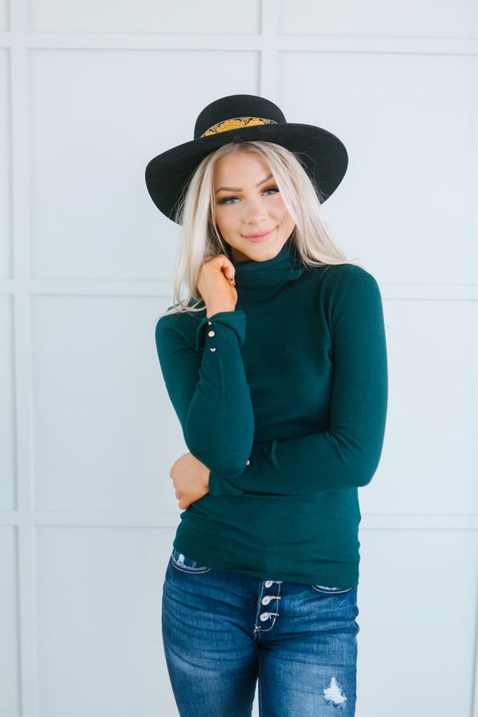 Mock Neck Button Sweater