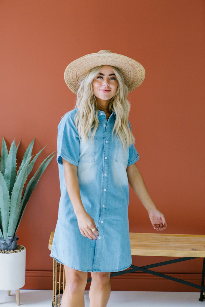 Chambray Button Up Dress