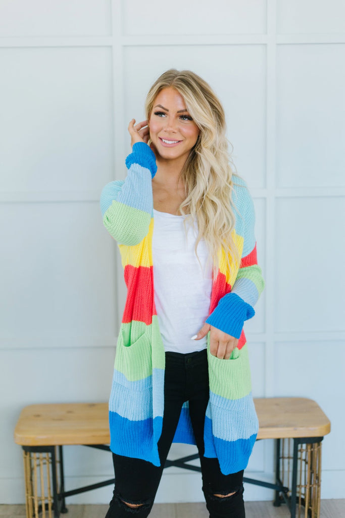 Striped ColorBlock Fall Cardigan