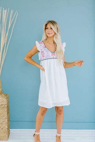 Eyelet Smocked Sleeve Dress