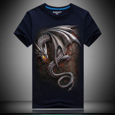 T-SHIRT - DRAGON ARGENTE  COTON S-6XL