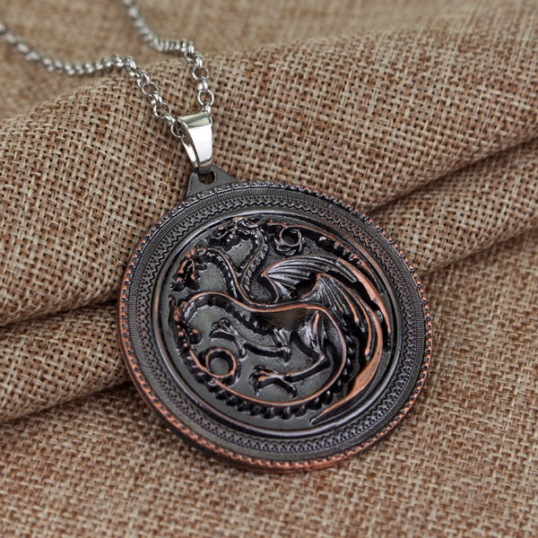 COLLIER - MEDAILLON TROIS DRAGONS TARGARYEN